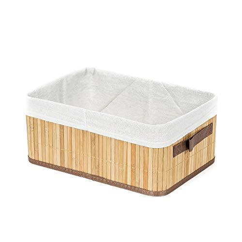 Compactor Panier rectangulaire pliable Bambou naturel, 35 x 25 x 15 cm, RAN5215