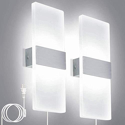 Luz De Pared Arriba/Abajo 6 Watts Plug-In LED Aplique De Iluminación Acrílico Lámpara De Pared Moderna Para Sala De Estar Dormitorio Pasillo Blanco Frío 6000K,2pcs