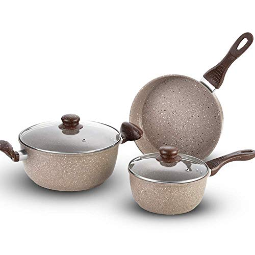 Kyman Topfset Aluminium Non-Stick 3 Stück Kochtopf-Set, Safe for Herdplatte Backofen Broiler und Geschirrspüler optimale Wahl for die tägliche Kochen Pan Sets (Farbe: Weiß, Größe: Freie Größe)
