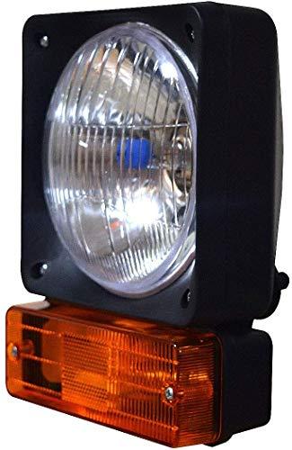 Lámpara de cabeza derecha con indicador y bombillas de 12 V, apta para cargador telefónico JCB