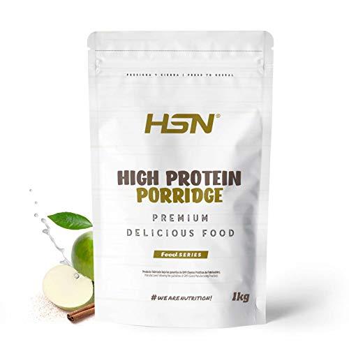 Gachas de Avena Proteicas de HSN   Porridge Proteico   Fácil y Rápido de Preparar   Con Proteína de Suero   Bajo en Azúcar   Apto para la Dieta Vegetariana   Sabor Manzana-Canela, 1Kg