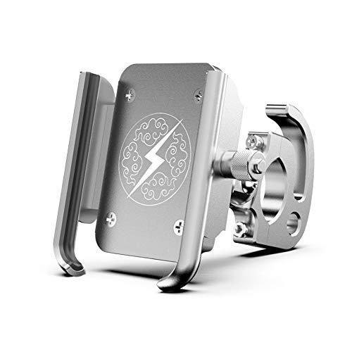 Outdoor Reithandyhalter, Motorradhalterung für Elektroautos Fahrrad-Mountainbike Lenker Handyhalter Kompatibel mit Galaxy S10e S9 S7 Xs XR X 8 7 6 (Farbe : Silber)