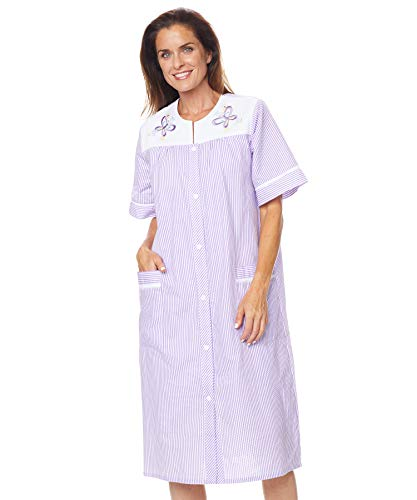 AmeriMark Embroidered Duster Housecoat Robe Snap Front Two Pockets Seersucker Lilac 2X