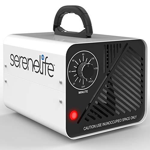 SereneLife 10,000mg/h Compact Ozone Generator - Commercial Ozone Generator Portable Industrial Ozone Deodorizer Sterilizer Odor Eliminator Machine, Up to 2000 Sq Ft Coverage - SLOZOGEN100