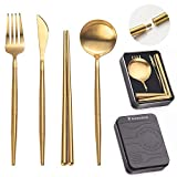 Huemankind Reusable Utensils Set with Case, Portable Stainless Steel Camping Flatware Travel Cutlery For Camping, Picnic & On-The-Go 4in1 Spoon, Fork, Knife, Chopstick & Pocket Sized Case [Gold]