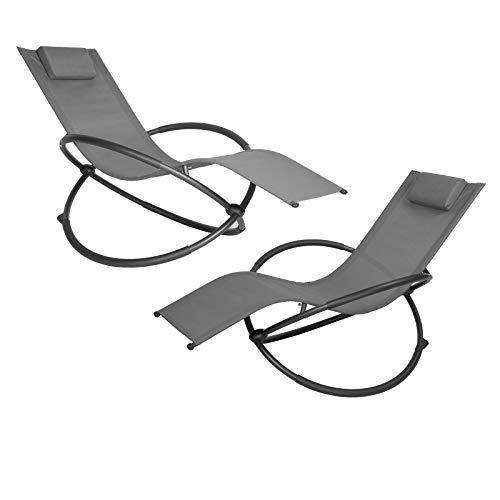 EUGAD Set di 2 Poltrone Sdraio a Dondolo Sedia a Sdraio Relax da Giardino Balcone con Poggiatesta e Braccioli Tubi in Ferro Nero 0001TY-2