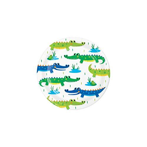 Creative Converting 350512 Alligator - Platos de postre, papel verde, azul y amarillo