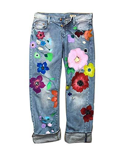 Onsoyours Damen Jeanshose Skinny Stretch Jeans mit Blumen Stickerei Slim Fit Hohe Taille Boyfriend Denim Hose Freizeithose Z1 Hellblau Large