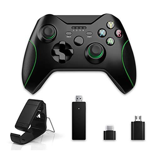 AOJU Controlador inalámbrico para Xbox One 2.4GHZ Controlador de Juegos inalámbrico Compatible con Xbox One, PS3, Windows 7/8/10, teléfono Inteligente Android, con vibración Dual incorporada