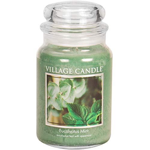 Village Candle Eucalyptus Mint Large Glass Apothecary Jar Scented Candle, 21.25 oz, Green