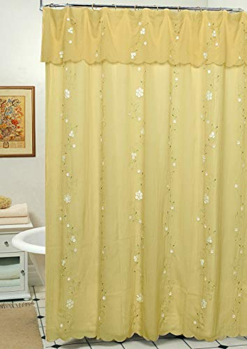 Creative Linens Daisy Embroidered Floral Fabric Shower Curtain with Attached Valance Gold