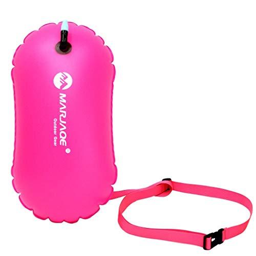 Yundxi Aufblasbare Schwimmboje Swim Boje Schwimmen Sicherheits Floss Trockene Tasche für Openwater Schwimmer, Kayakers, Schnorcheln, Training und Triathleten (Roserot)