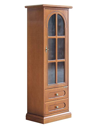 Arteferretto Mobile vetrina Piccole Dimensioni: 1 Anta 2 cassetti. Vetrina per Soggiorno/Salotto/Cucina, Stile Classico, Legno Tinta Ciliegio, già montata, Dimensioni: L48xP34xH136 cm