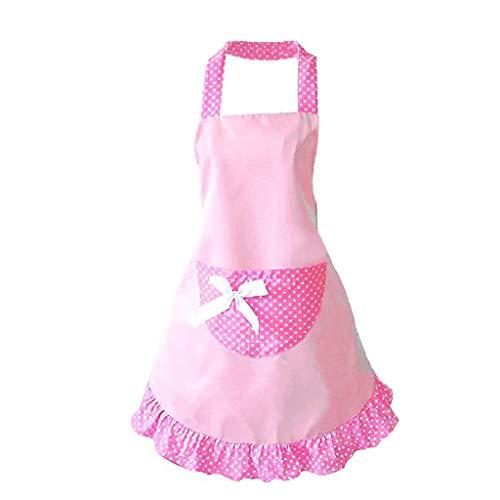 ODJOY-FAN Schürze mit Taschen für Damen,ölbeständig wasserdicht Küchenschürze Süß Mädchen Bowknot Lustig Schürzen Damen Küche Restaurant Schürze Apron (Rosa,1 PC)