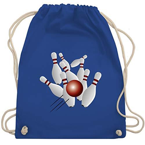 Shirtracer Bowling & Kegeln - Kegeln alle 9 Kegeln Kugel - Unisize - Royalblau - WM110 - Turnbeutel und Stoffbeutel aus Bio-Baumwolle