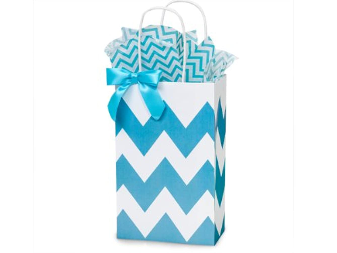 Turquoise Blue & White Chevron Small Shopper Gift Bags - Quantity of 25