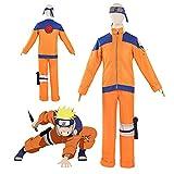 TTIK Naruto Anime Cosplay Disfraz Uzumaki Naruto Unisex Abrigo Naranja con Pantalones Conjunto Completo Halloween Fiesta Ropa Cosplay