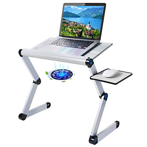 """Upgraded Aluminum Laptop Stand Adjustable with Cooling Fan and Mouse Pad, Reinforced Ergonomic Lap Desk Foldable Portable Computer Table for Bed Sofa Couch Office (Extra Wide Tray: 19"""", Silver)"""