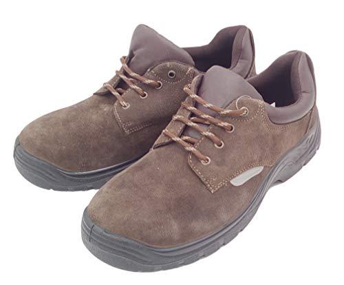 Powerfix Sicherheitsschuhe Arbeitsschuhe Schutzschuhe Halbschuhe Stiefel Leder Stahlkappe, Modell:Schuh braun, Schuhgröße:44