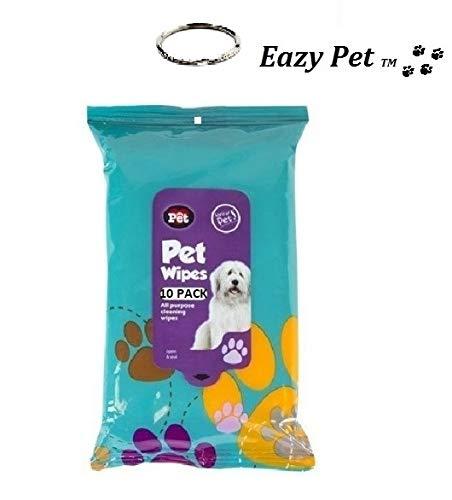 Toallitas de limpieza para mascotas 10 unidades multiusos compactas para asear mascotas toallitas húmedas almohadillas higiénicas pasear al inodoro limpiar las manos con llavero cromado