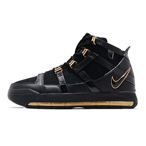 Nike Zoom Lebron III QS Echtleder Basketball-Schuhe hoch geschnittene Damen Sport-Schuhe Trainings-Schuhe Hallen-Schuhe Schwarz/Gold, Größe:39