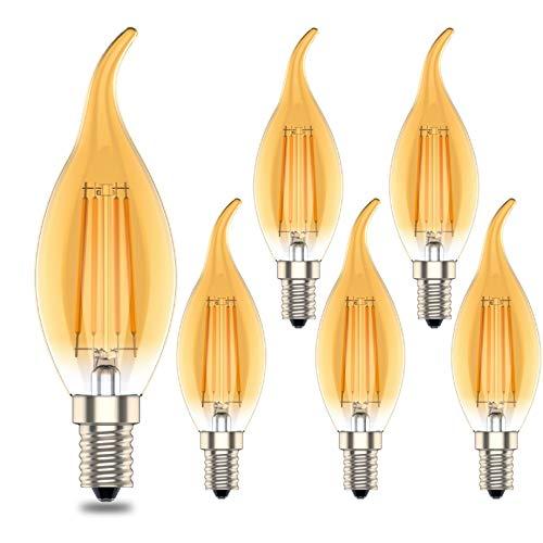 Phoenix-LED E14 Warmweiss Dimmbar, Bernstein Glühen Lampe, Vintage Edison GlüHbirne,4W Ersetzt 40Watt, Warmweiß(2700K),400lm,6er-Pack