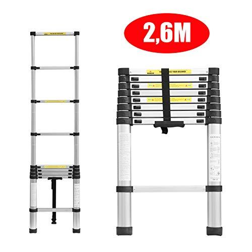 2,6M Teleskopleiter Klappleiter Ausziehbare Alu Leiter Schiebeleiter Mehrzweckleiter Rutschfeste Stufen 150 kg/330 Pfund Belastbarkeit für Zuhause/Büro/Dachboden/Arbeit