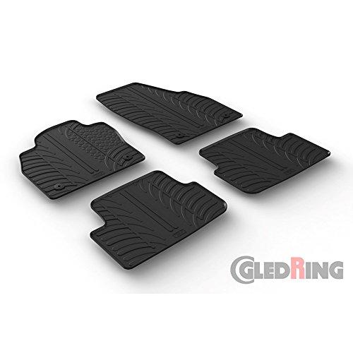 Gledring Set tapis de caoutchouc compatible avec Volkswagen Polo VI 2017- (T profil 4-pièces + clips de montage