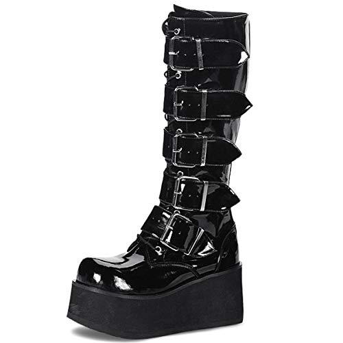 Demonia Knee Boots Trashville-518 Lack schwarz Gr. 43,5