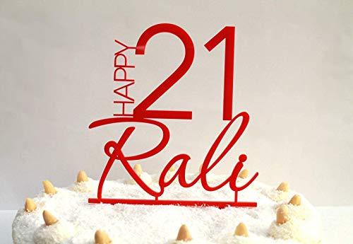 Kuchen Topper Personalisierten Name und Alter Kuchendekoration Tortenaufsatz Custom Cake Topper Acryl Individuellen Alles Gute zum Geburtstag Törtchen-Dekor Jahrestag Wunschname Verschiedenen Farben