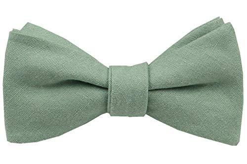 Herren Fliege zum Selbstbinden, aus massivem Leinen, klassische Schmetterlings-Fliege, formelle Hochzeits-Fliege - Grün - Large