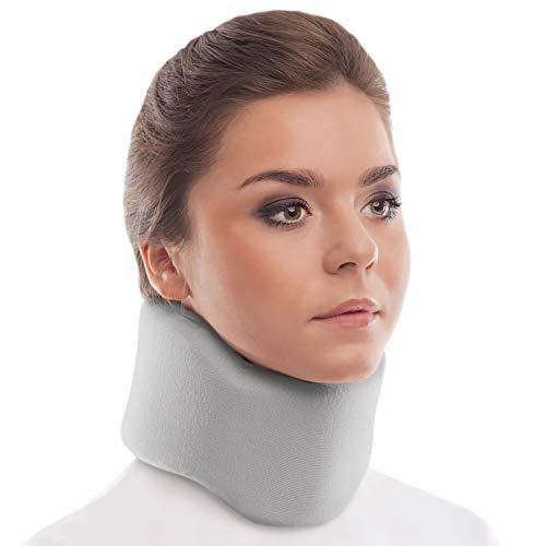 Collarín cervical ortopédico blando; soporte para el cuello, Alivio del Dolor y la Presión en la Columna Vertebral; para vértebras cervicales; 100% algodón Medium Gris