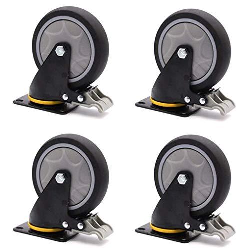 DGDG 3/4/5 Zoll Lenkrolle Rad, Wagen Möbel Caster, Schwerlastrollen, die Kapazität von Vier Rollen ist 400 kg, geeignet for den Transport von Schwermaschinen (Color : Brake, Size : 100mm)