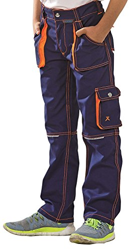 Planam 6112 Basalt Junior Bundhose in Verschiedenen Farben, Arbeitshose für Kinder (98/104, Marine-Orange)