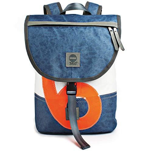 360° Grad Rucksack Landgang Mini Unisex weiß und vintage Blau mit Zahl in Neon Orange Segeltuch-Tasche; maritim, wetterfest