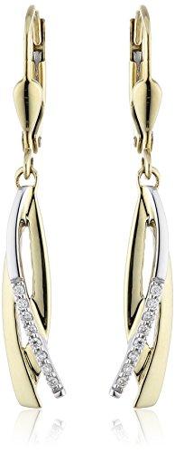 Diamonds by Ellen K. - Orecchini pendenti da donna con diamante (0,08 ct), due ori 8k (333), cod. 047330028