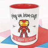La Mente es Maravillosa - Taza con Frase y dibujo. Regalo original y gracioso (Hoy un Iron-café y a salvar el mundo) Taza Película Iron Ma