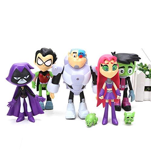XIANLIAN Teen Titans Go Figura De Acción, Muñecos De Figuras, 7 Piezas Juego De Figuras De Acción De Teen Titans Go - 5 Figuras + 2 Mini Mascotas, Artículos De Fiesta Temática De PVC Juvenile Titan