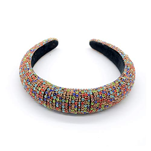 Rhinestone Hair Band Thickened Headband 3 Cm Wide Hair Card Crystal Hair Decoration Ladies Girls Party Supplies (Color : Colorful drill)