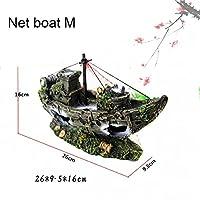 大きな水族館の装飾水族館の装飾海賊船の水槽樹脂の風景難破船の装飾シミュレーション装飾品アクセサリー-net_boat_m