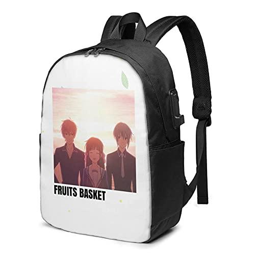 DJNGN Fruit Basket Anime Sac ?dos unisexe avec port de charge USB, sac ?dos de voyage, sac d'閏ole tendance imprim?11
