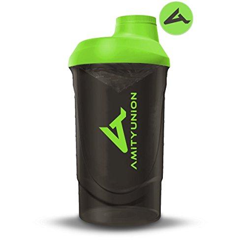 Protein Shaker Deluxe 800 ml - Eiweiß Shaker auslaufsicher - BPA frei mit Sieb & Skala für Cremige Whey Proteinpulver Shakes - Gym Fitness Becher für Isolate und Diät Konzentrate - Schwarz Grün