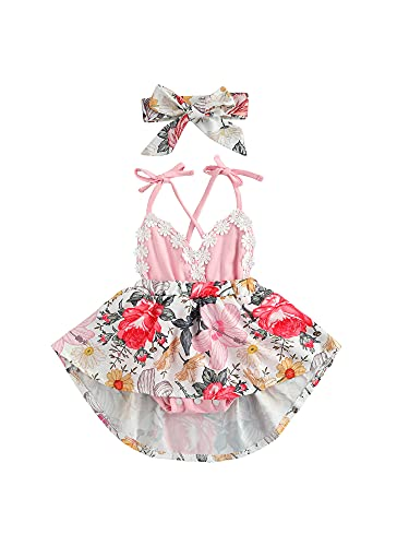 Traje de verano para niñas pequeñas y niñas, con encaje, con cuello en V, sin espalda, con tiras y banda para el cabello