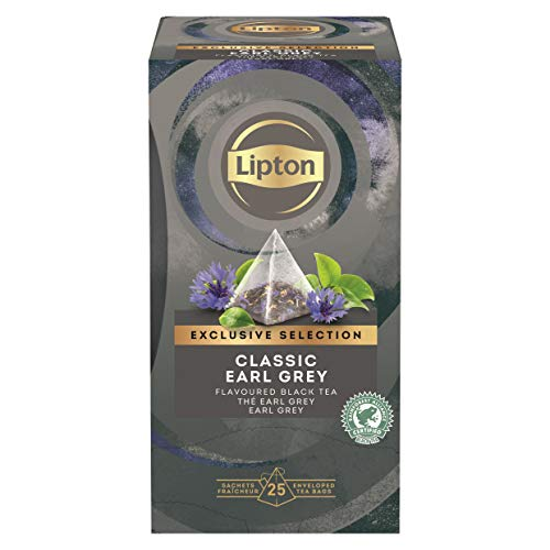 Lipton Earl Grey Schwarztee Pyramidbeutel, 1er Pack (1 x 25 Teebeutel)