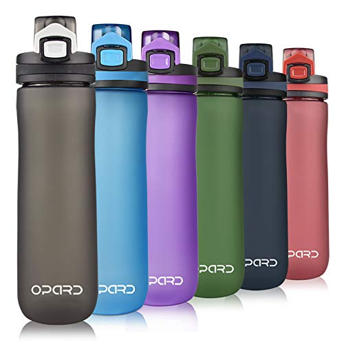 Opard Sports Water Bottle, 20oz BPA Free Non-Toxic Tritan Plastic Water Bottle with Leak Proof Flip Top Lid for Gym Yoga Fitness Camping (Black, 20oz/600ml)