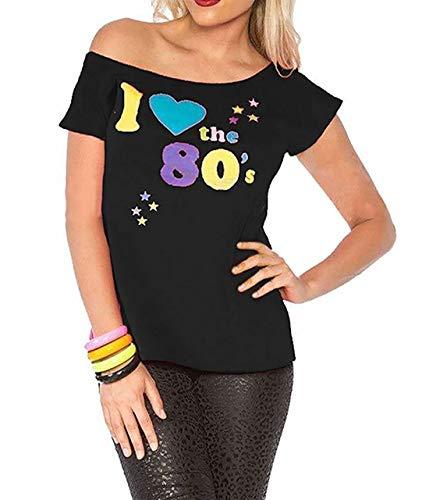 Mujer I LOVE THE AÑOS 80 Camiseta disfraz mujer Pop Star Top Disfraz - Negro, UK 8-10