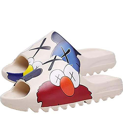 Zapatillas para mujer y hombre, secado rápido, sandalias de ducha, peso ligero, EVA lindos e interesantes zapatos de diapositivas para hombre y mujer adolescente. (calle de sésamo, 40)