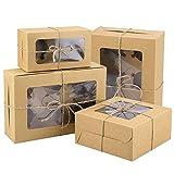 HOWAF Cajas para Cupcakes,Papel Kraft, Soporte para Cupcakes, contenedores Individuales con Ventana insertable,Caja para Pasteles de panadería con Cuerda para Envolver Pasteles, 14 Paquete