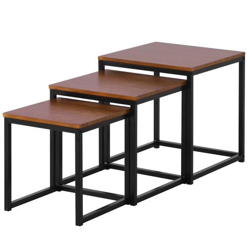 Set di 3 comodini con gambe in metallo, 3 pezzi, tavolino da caffè con gambe in metallo, design industriale, marrone vintage e nero