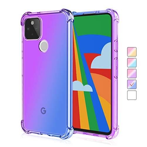 ZUERCONG Schutzhülle für Google Pixel 4A 5G, bunte Farbverlauf, transparent (nicht für Pixel 4A 4G), schmale, weiche TPU-Viereck-Airbag-Hülle, stoßfest, kratzfest, lila + blau